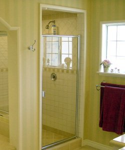 Highland Park framed glass shower door